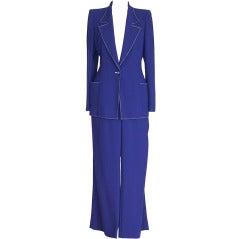 Emanuel Ungaro Vibrant Electric Blue Pant Suit Fabulous Buttons 12 fits 10