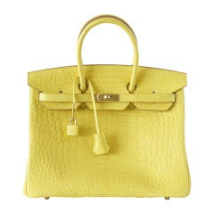 Hermes Matte Mimosa Yellow Gold Hardware Crazy Fabulous Birkin 35 Bag