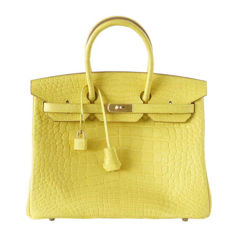 Hermes Birkin 35 Bag Matte Mimosa Yellow Gold Hardware Crazy Fabulous