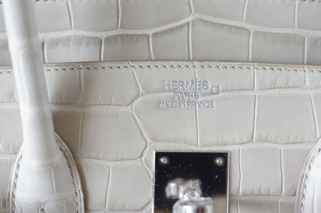HERMES BIRKIN 35 Bag Rare Matte Alligator BETON (concrete) palladium
