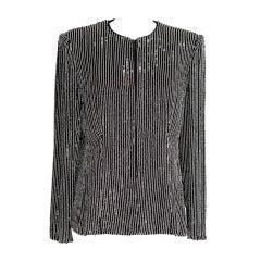 GIORGIO ARMANI Jacket Bead Encrusted Pinstripe Black and White 48 10 to 12