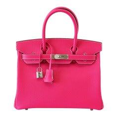 HERMES BIRKIN 30 Bag coveted ROSE TYRIEN luscious
