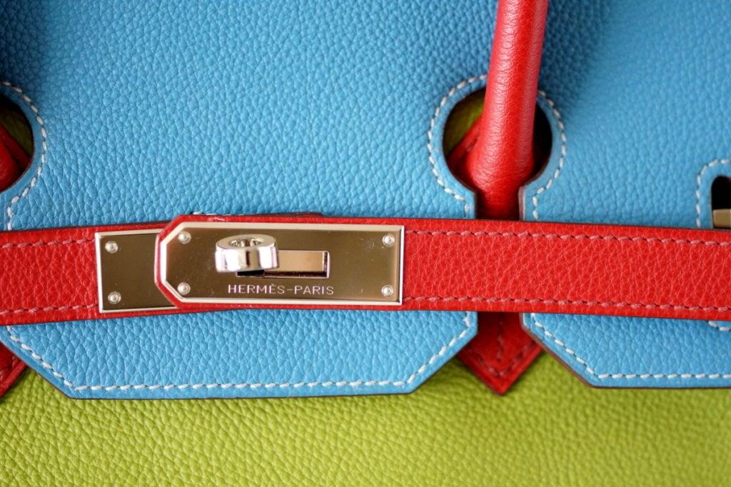 HERMES BIRKIN 35 bag tri color special order Vert Anis Rouge Garrance Blue Jean image 2