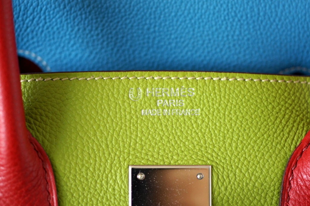 HERMES BIRKIN 35 bag tri color special order Vert Anis Rouge Garrance Blue Jean image 4