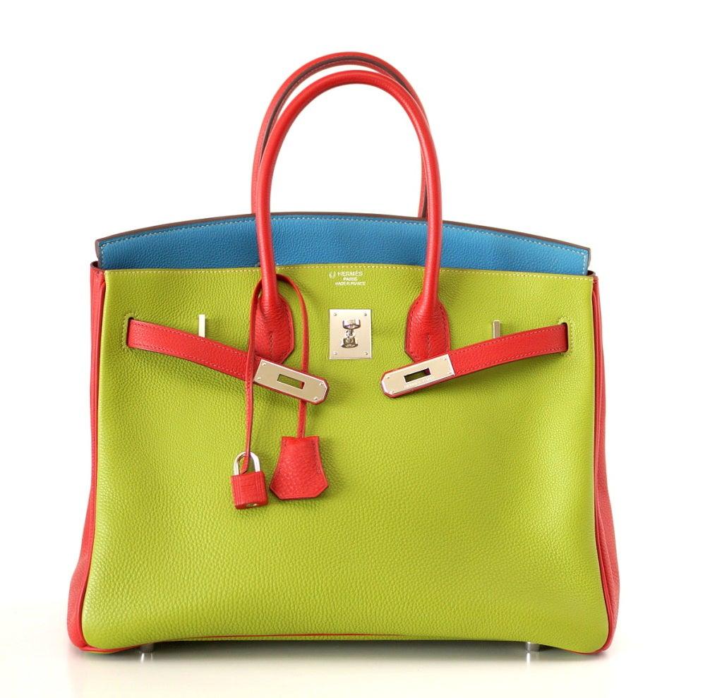 HERMES BIRKIN 35 bag tri color special order Vert Anis Rouge Garrance Blue Jean image 5