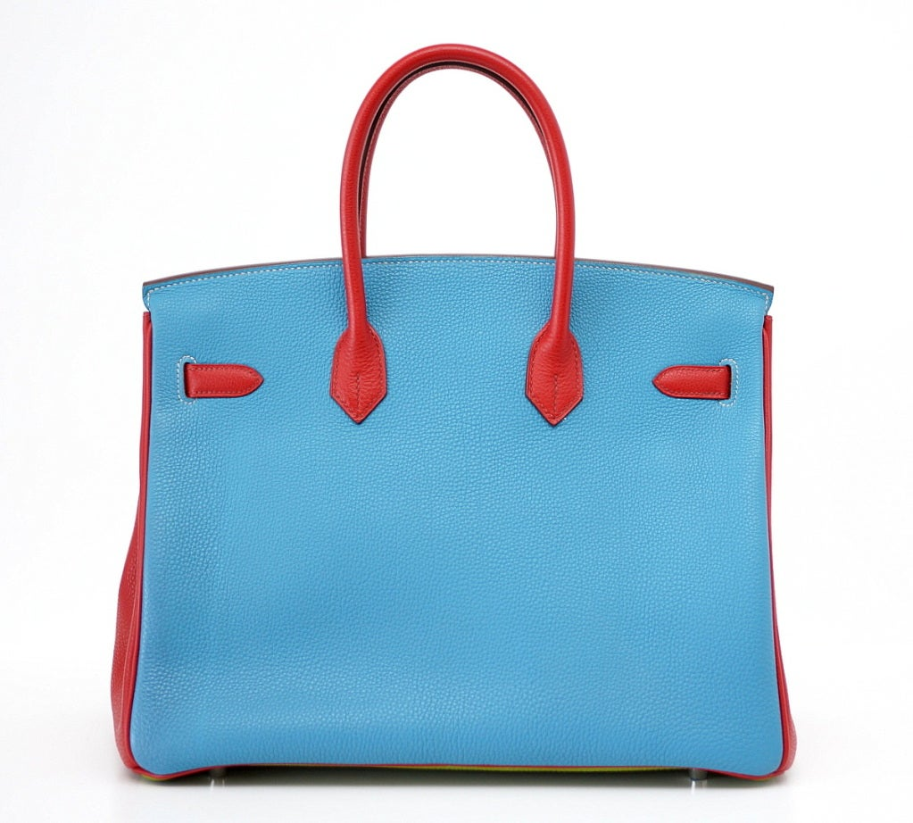 HERMES BIRKIN 35 bag tri color special order Vert Anis Rouge Garrance Blue Jean image 6