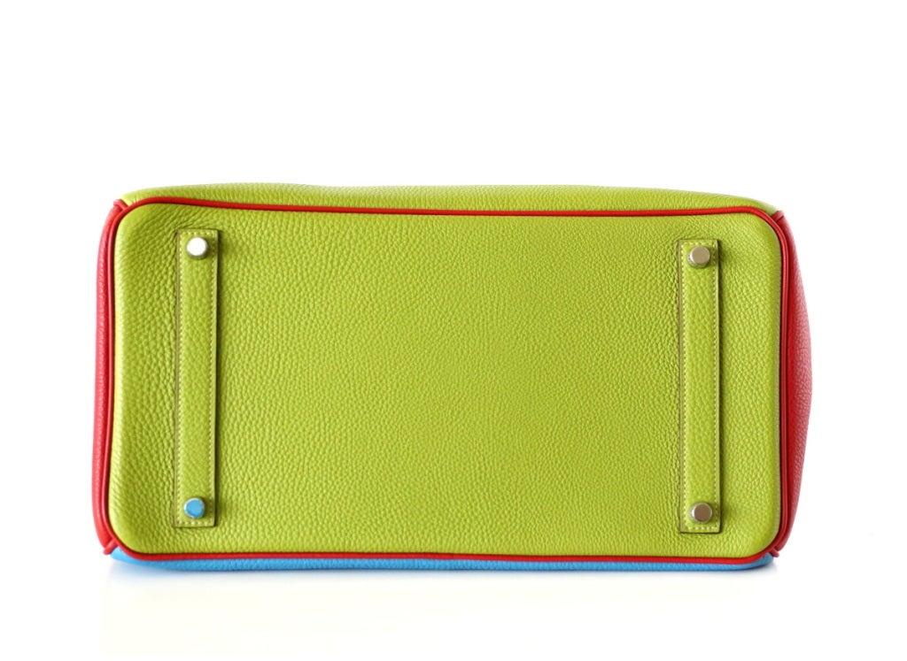 HERMES BIRKIN 35 bag tri color special order Vert Anis Rouge Garrance Blue Jean image 7
