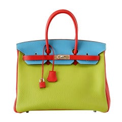 HERMES BIRKIN 35 bag tri color special order Vert Anis Rouge Garrance Blue Jean