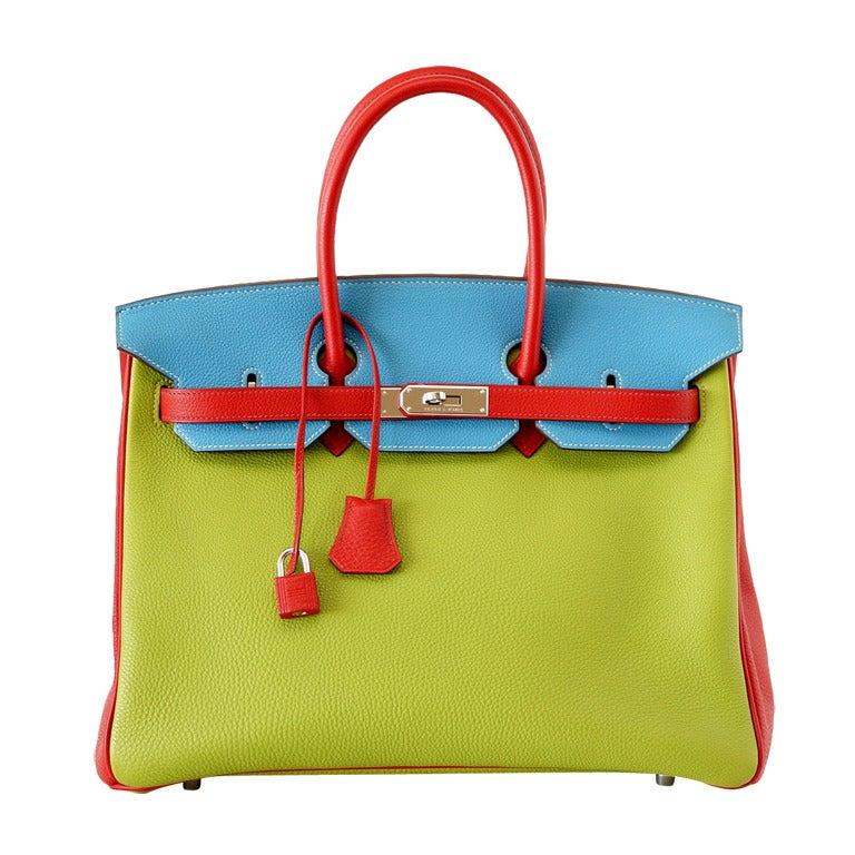 HERMES BIRKIN 35 bag tri color special order Vert Anis Rouge Garrance Blue Jean 1