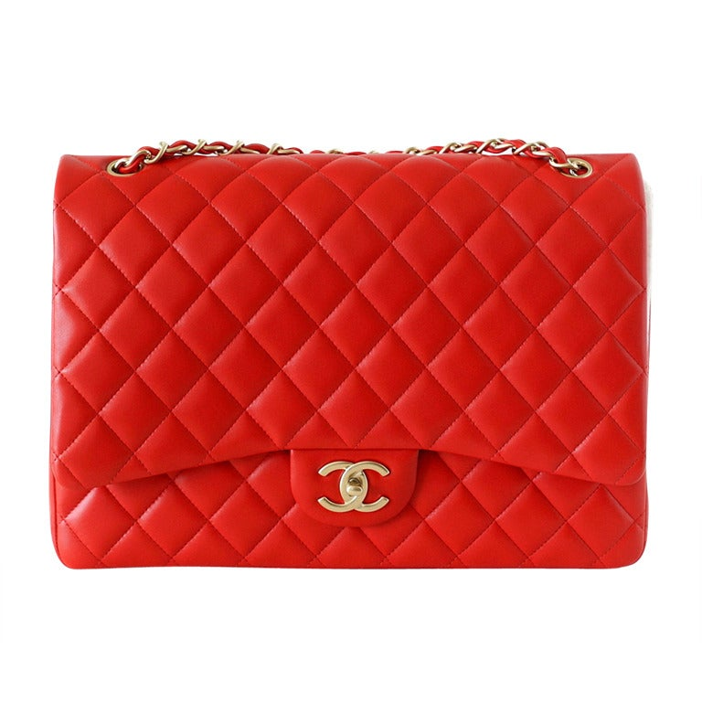 245c842e5702 CHANEL bag MAXI flap 2013 cruise vivid red lambskin leather NEW box For Sale