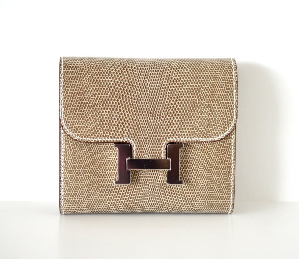hermes constance wallet - Hermes Constance FICELLE Lizard wallet / clutch Rare at 1stdibs