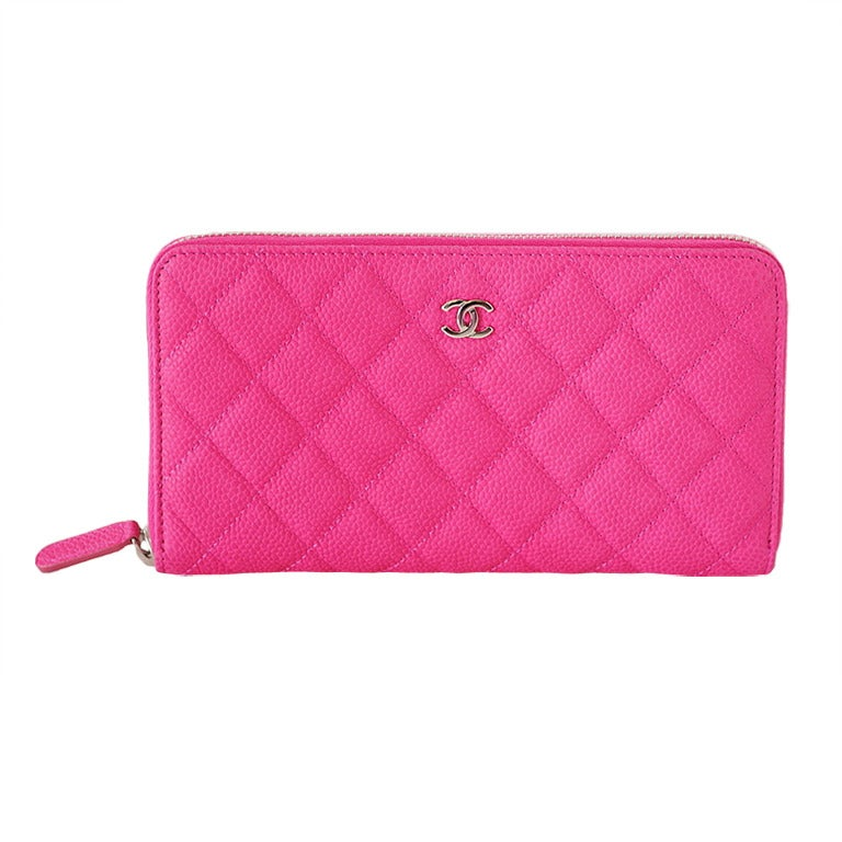 CHANEL wallet HOT pink caviar zippy NEW box crazy fabulous 1