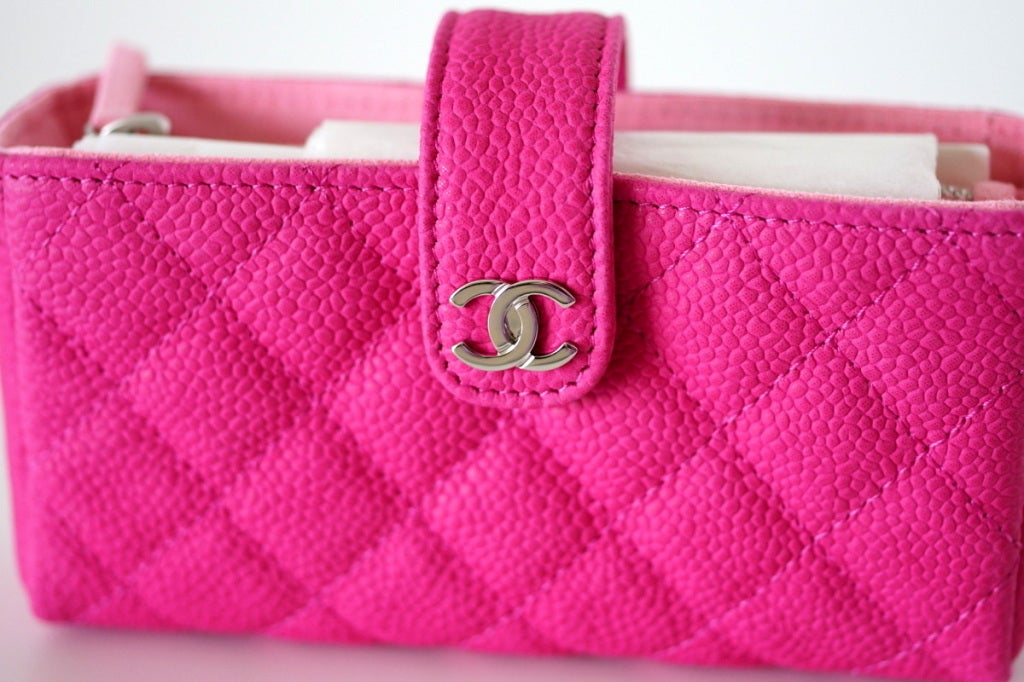 546ed9bb229be6 CHANEL O MINI clutch HOT pink caviar leather current season NEW box For  Sale. **Buyer MUST contact me directly prior to purchase to get the bag at  the