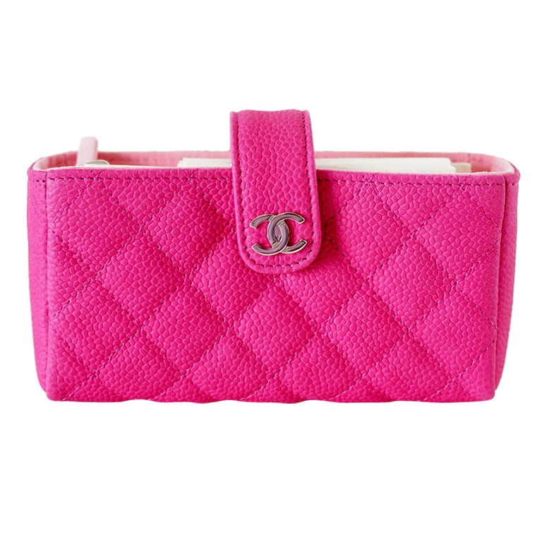 8cfc9f33cf15 CHANEL O MINI clutch HOT pink caviar leather current season NEW box For Sale