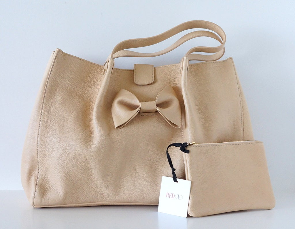VALENTINO bag large feather light leather tote NEW putty nude great bow 2
