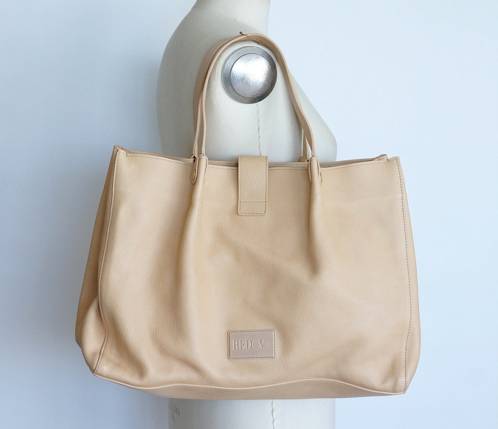 VALENTINO bag large feather light leather tote NEW putty nude great bow 4