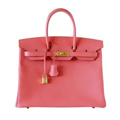 HERMES BIRKIN 35 Bag Flamingo Pink Gold Hardware
