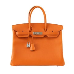 Hermes Birkin 35 Bag Rare Signature H Orange Epsom Palladium