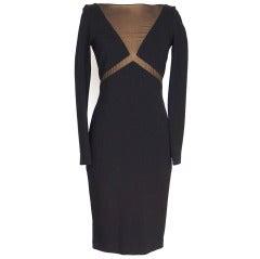 EMILIO PUCCI black dress mesh inset bold rear zipper 40 / 6 also in 44 NWT