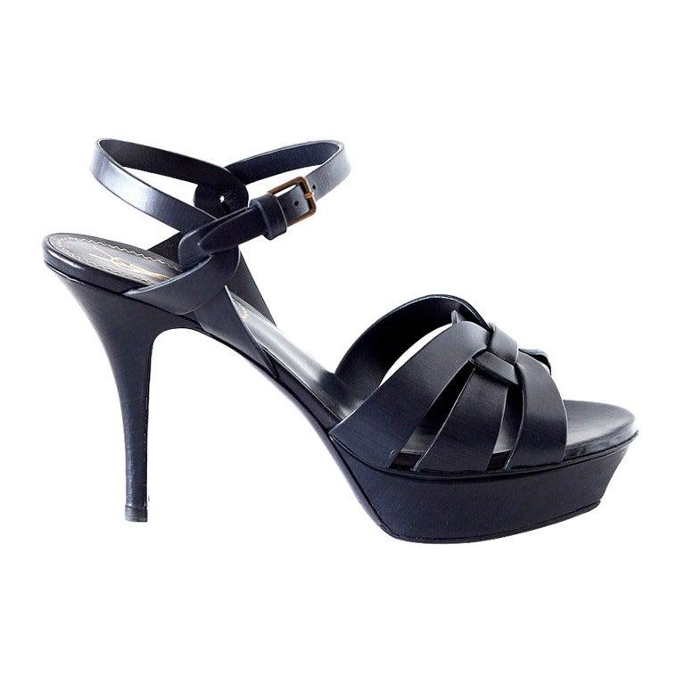 YVES SAINT LAURENT YSL dark navy Tribute shoe 39 9 at 1stdibs