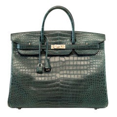 Hermes Birkin 40 Bag Vert Fonce Matte Porosus Crocodile Palladium