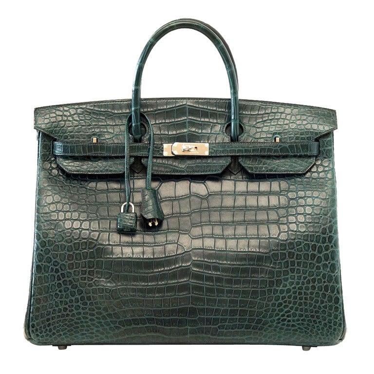 Hermes Birkin 40 Bag Vert Fonce Matte Porosus Crocodile Palladium For Sale