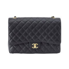 CHANEL Bag Maxi Classic Double Flap Black Caviar Leather Gold Hardware nwt