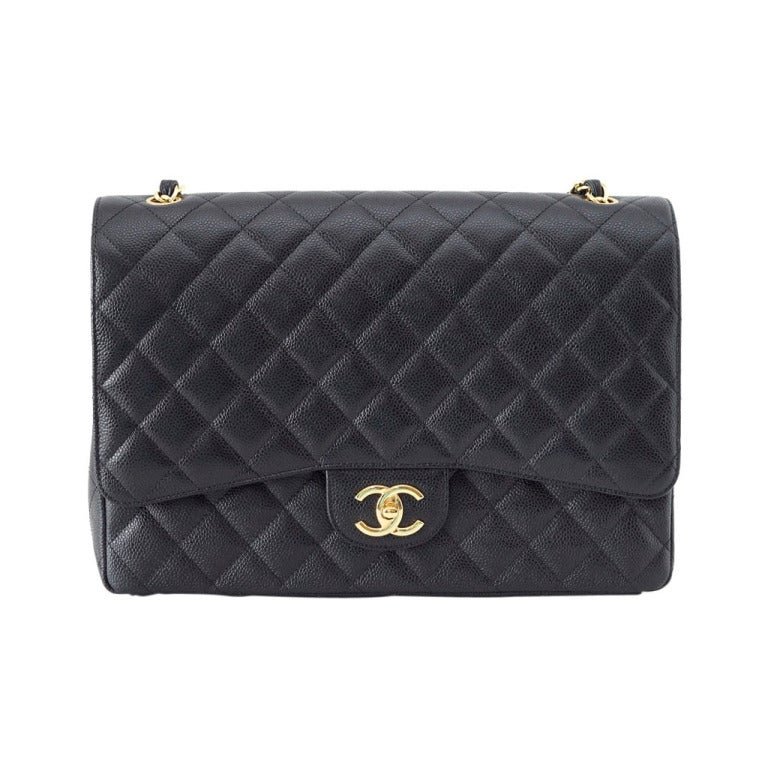 CHANEL Bag Maxi Classic Double Flap Black Caviar Leather Gold Hardware nwt For Sale
