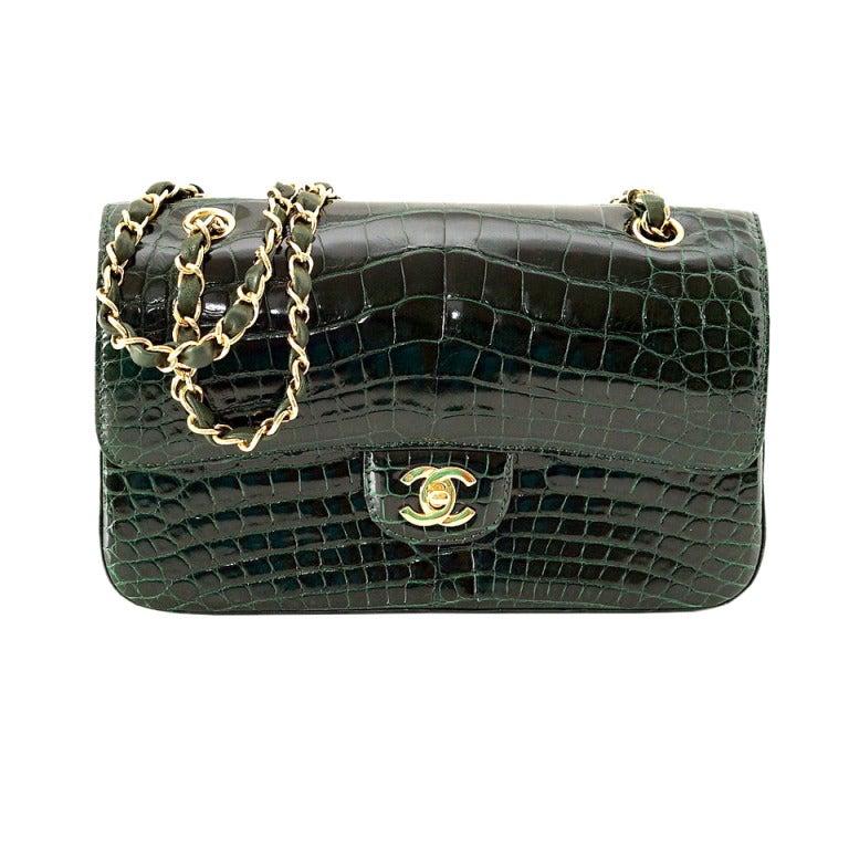 a06ce143f33bfc CHANEL bag Emerald green Crocodile Medium flap gold hardware NEW/box For  Sale