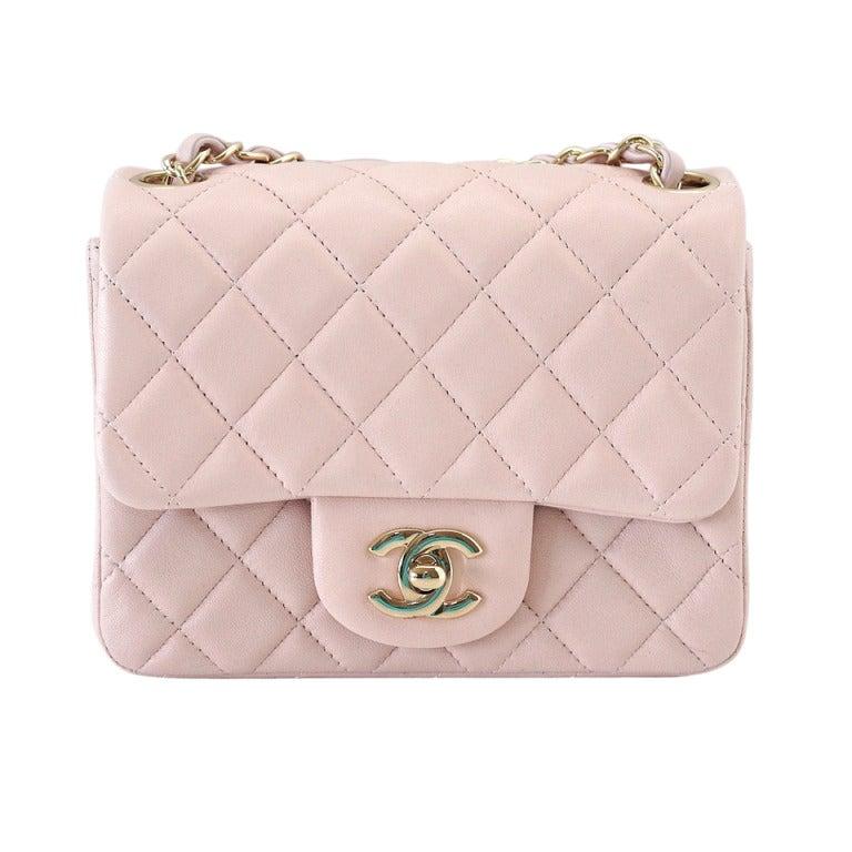 CHANEL bag whisper pink mini lambskin soft gold hardware w / box For Sale