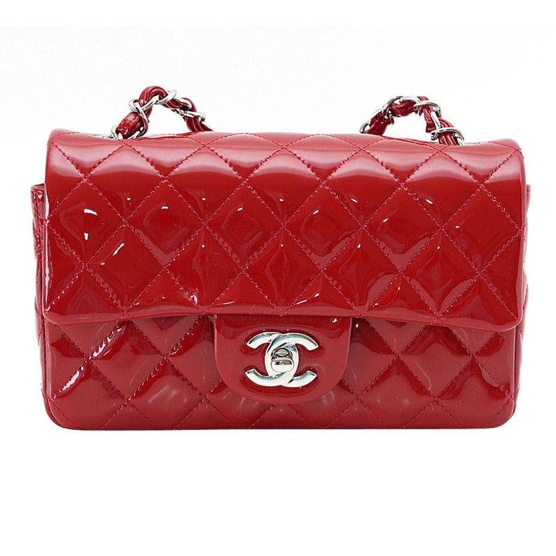 56947ead3dd9 CHANEL bag classic flap MINI rectangle patent leather red NEW/box For Sale