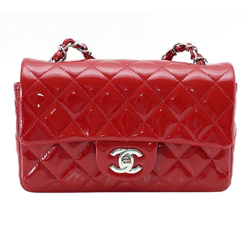 cb53e5dcb65e CHANEL bag classic flap MINI rectangle patent leather red NEW/box For Sale