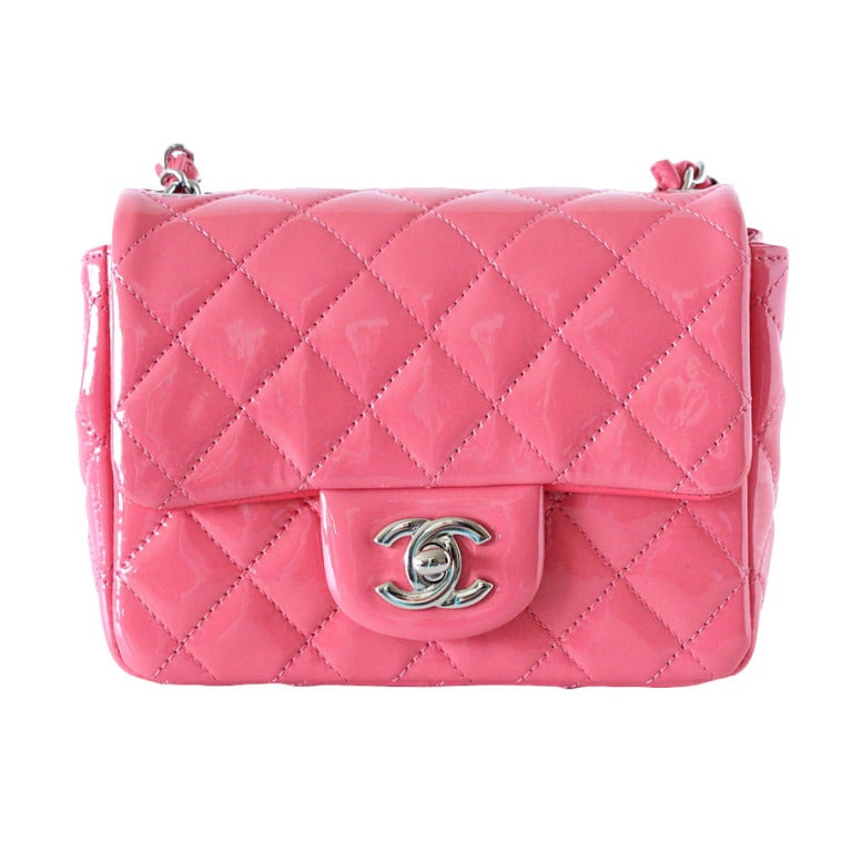 CHANEL Bag Pink Mini Square Patent Leather NWT / box 1