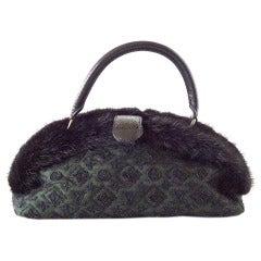 LOUIS VUITTON Bag Demilune Mousseline Long Vert Mink Snake Trim