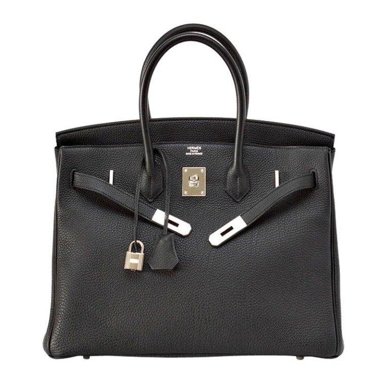 HERMES BIRKIN bag black togo palladium hardware 1