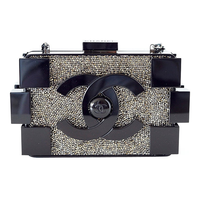 e4d70460121e CHANEL bag BOY BRICK beaded black plexi glass RUNWAY Limited Edition NWT  For Sale