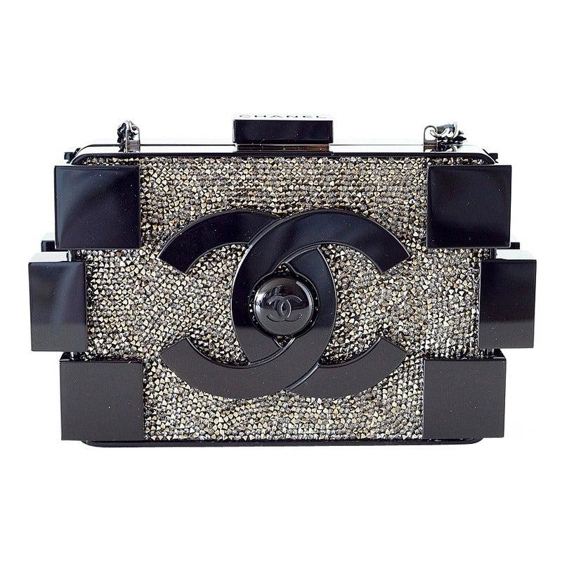 e4d70460121e CHANEL bag BOY BRICK beaded black plexi glass RUNWAY Limited Edition NWT  For Sale