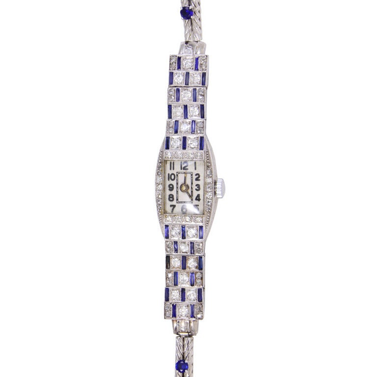 Art Deco Lady's Platinum and Diamond Bracelet Watch