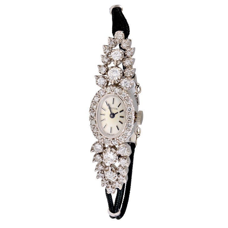 Croton Lady's White Gold and Diamond Wristwatch