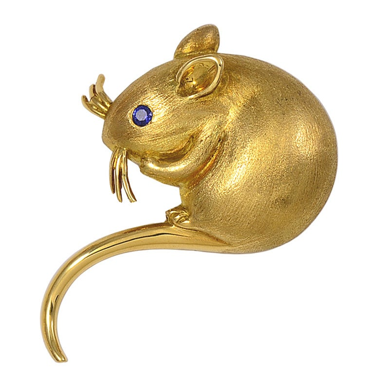 Sapphire Gold Mouse Pin at 1stdibs