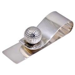 Hermes Paris Sterling Silver Golf Ball Desk Clip