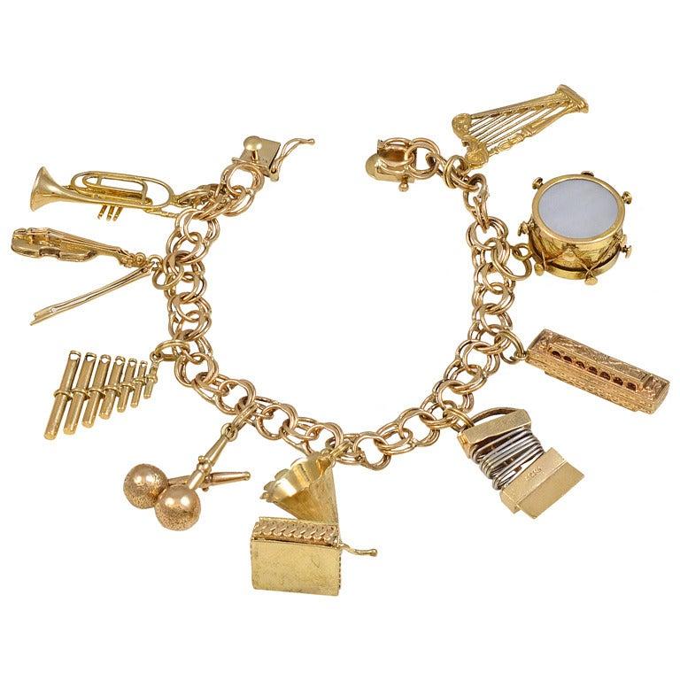 Musical Instrument Charm Bracelet For Sale