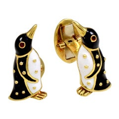 Penguin Enamel and Gold Cufflinks