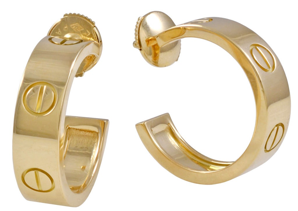 Cartier Gold LOVE Earrings at 1stdibs