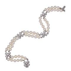 "TIFFANY & CO ""VICTORIA"" Diamond and Pearl Bracelet"