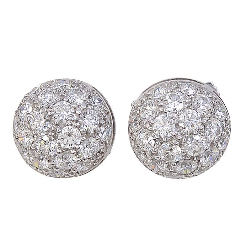 Cartier Earrings Studs Cartier Pave Diamond Stud