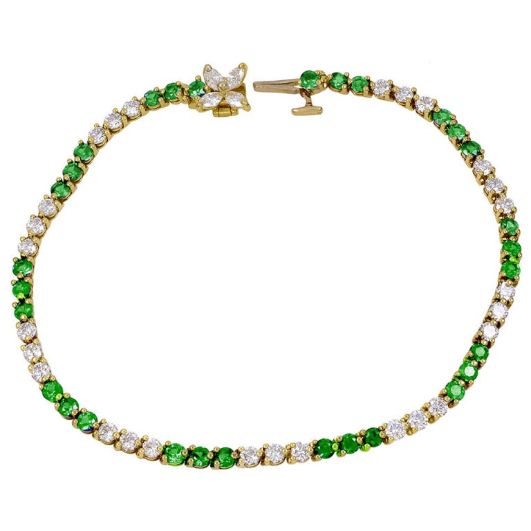 "TIFFANY&CO Diamond and Emerald "" Victoria"" Bracelet"