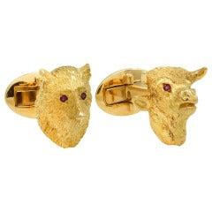 Ruby Gold Bull and Bear Cufflinks