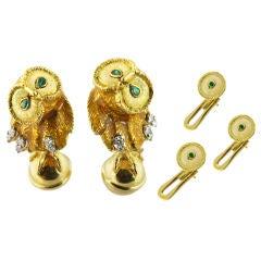 TIFFANY & CO. Owl Cufflink Stud Set