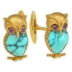 NARDI Owl Turquoise Cuff Links